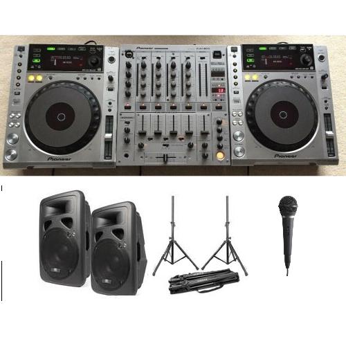 Dj set 2 huren met speakers en microfoon